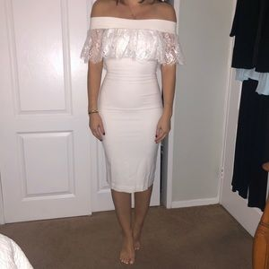 WORN ONCE white dress. Dress the population small